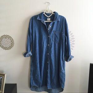 NWT Gap Button Down Denim Shirt Dress